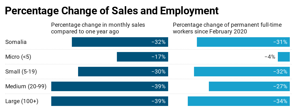 Percentage Change of Sales and Employment