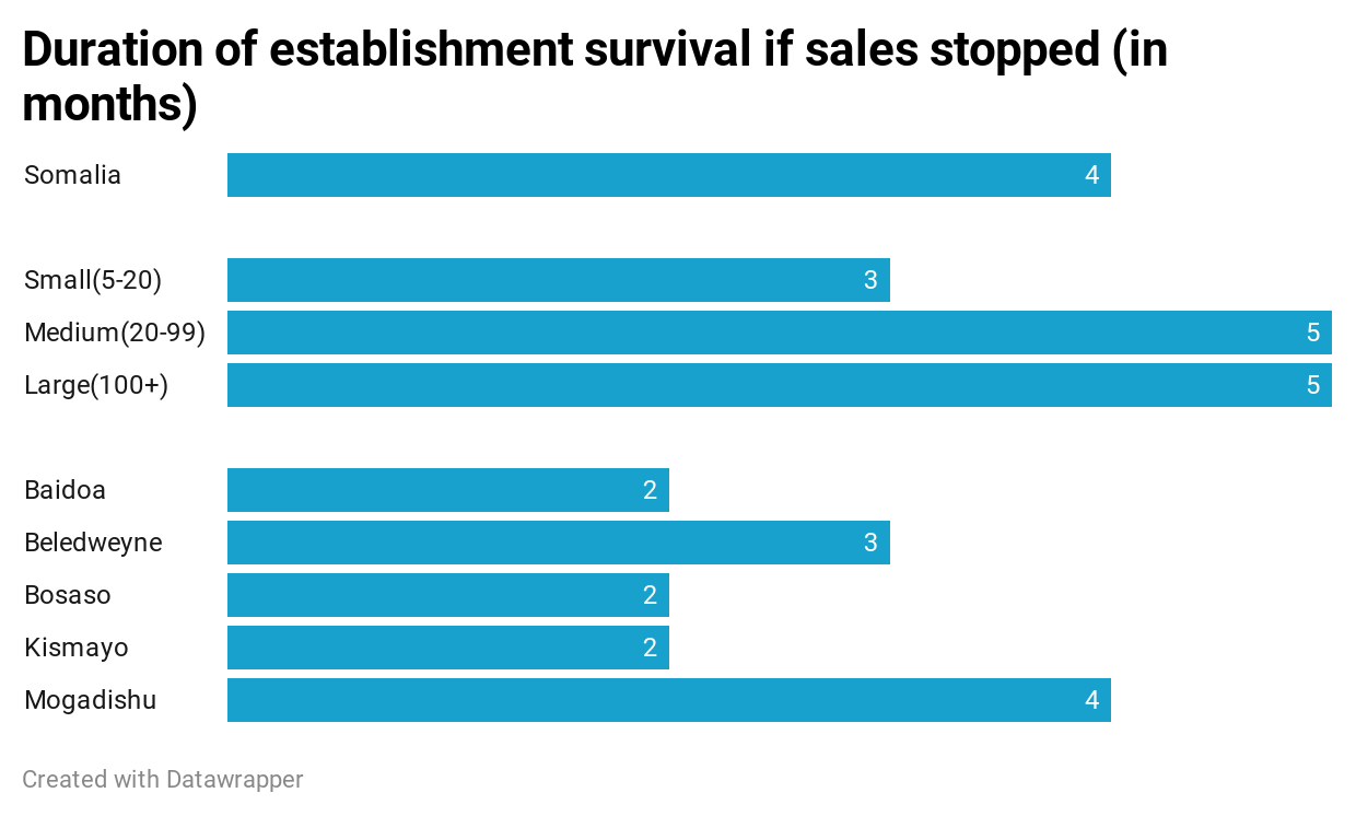 Duration of establishments survival if sales stopped (in months)