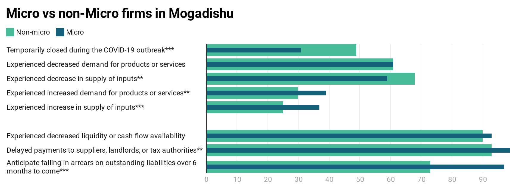 Micro vs non-micro firms in Mogadishu
