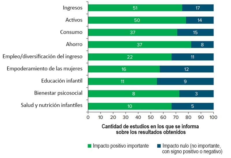 Resumen de los impactos generales de los programas de inclusión económica.
