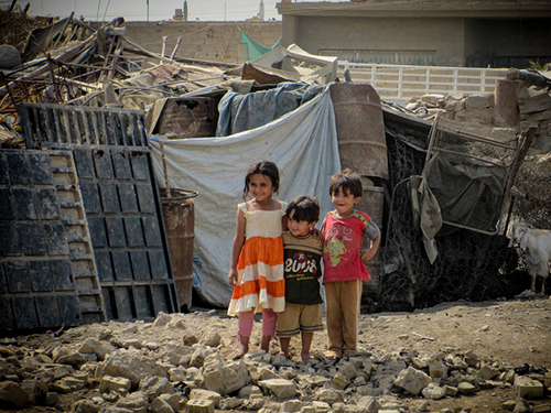 Flickr/Creative Commons/ Dave Malkoff - Children in a squatter camp in Baghdad, Iraq