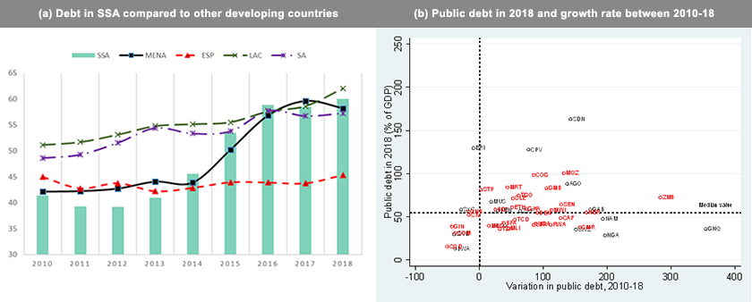 Public debt in SSA. Source: Authors' calculations using the World Economic Outlook dataset.