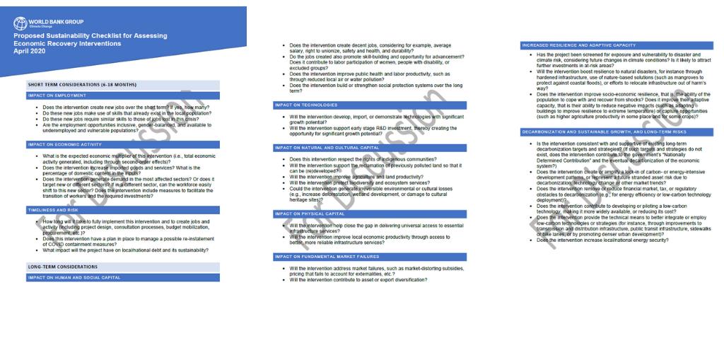 Coronavirus sustainability checklist
