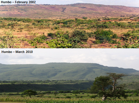 A comparative picture of the Humbo region in February 2002 and March 2010.