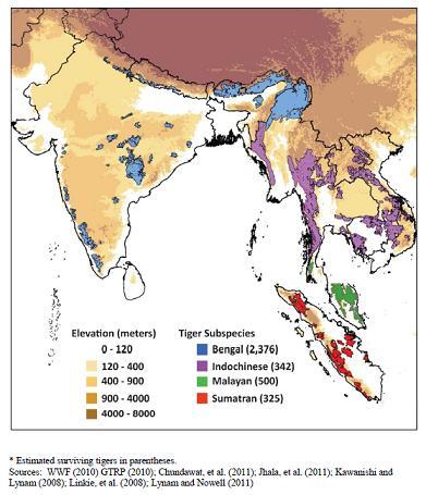 Habitat Threats for Bengal, Indochinese, Malayan and ... on amur tiger map, sumatran tiger map, dhole map, african tiger map, indochinese tiger map, chinese tiger map, caspian tiger map, tiger habitat map, golden tiger map, south china tiger map, malayn tiger map, asiatic cheetah map,