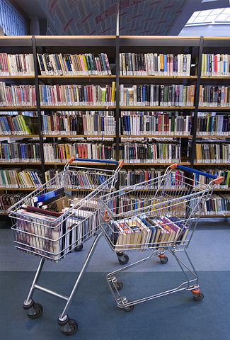 real textbooks in real shopping carts ... so *that's* where the metaphor comes from!