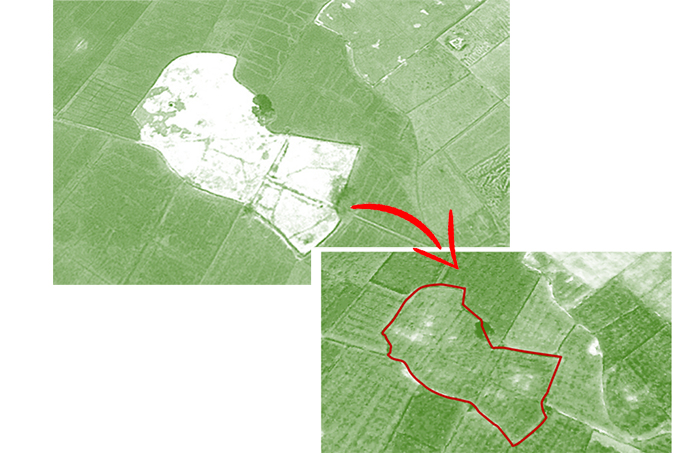 Satellite images highlighting 105 ha of sodic wasteland, before reclamation in 2009 (top) and in 2014 (bottom) after reclamation. After reclamation, the once uncultivable 105 ha, now produces crops.