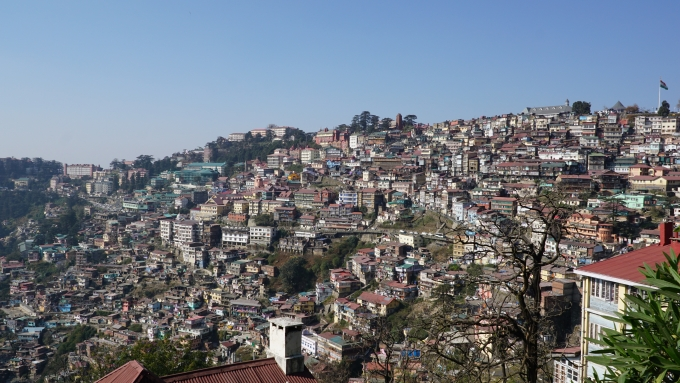 The capital city of Shimla is built on the mountain slopes of the Himachal Pradesh state