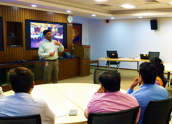 Sanjay Kathuria interacting with graduate students during a workshop on South Asia regional integration