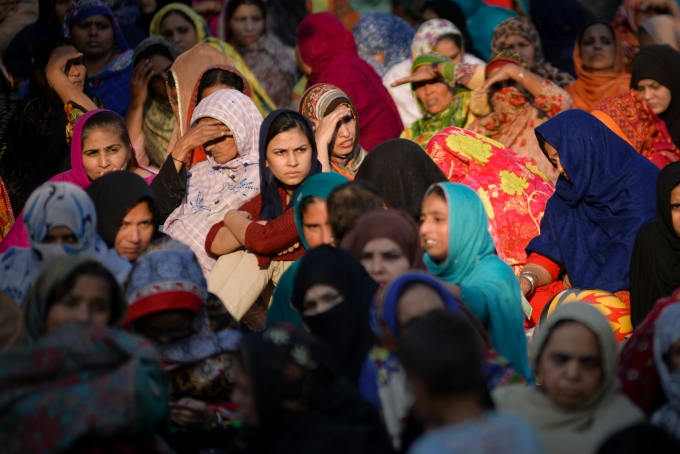 A large number of Pakistani women waiting to get relief money for her own business work at Lahore, Pakistan.