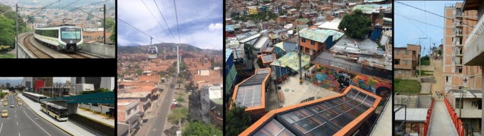 Metro system and bridges in Medellin