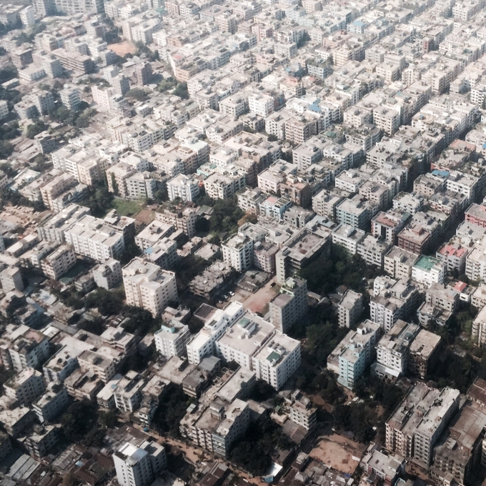 Aerial view of Dhaka
