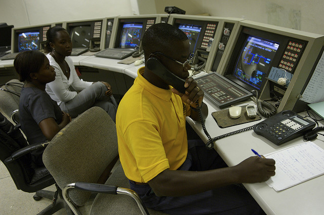 Control room at a power station in Ghana. (Photo by Jonathan Ernst / World Bank)