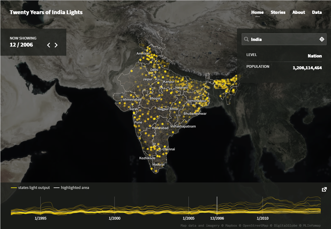 Front page of nightlights.io with an overview of India.
