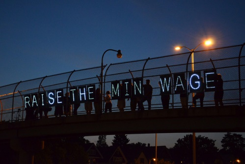 Raising awareness about Wisconsin's minimum wage, Milwaukee, August 1, 2012. Photo: Flickr/wisconsinjobsnow (Wisconsin Jobs Now)