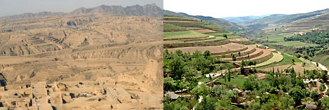 China's Loess Plateau, before and after restoration through a landscape approach. Photos: Till Niermann, Wikimedia Commons (CC BY-SA 3.0), Erick Fernandes/World Bank.