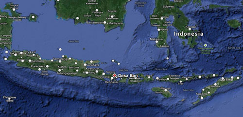 Map showing location of Desa Ban