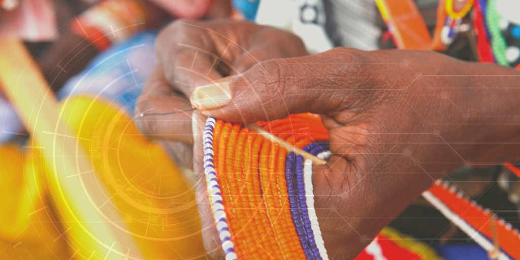 Maasai women make, sell and display their bead work in Kajiado, Kenya.