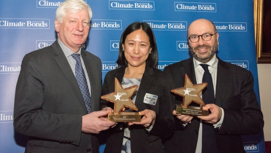 From left to right, Jean-Marie Masse, Chief Investment Officer, IFC Financial Institutions Group, and Flora Chao, Global Head of Funding, IFC Treasury, and Frédéric Samama, Co-Head Institutional Clients Coverage, Amundi, at the Climate Bond Awards ceremony