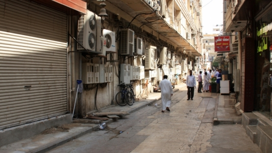 Street in Al-Balad, Jeddah's historic district, Saudi Arabia