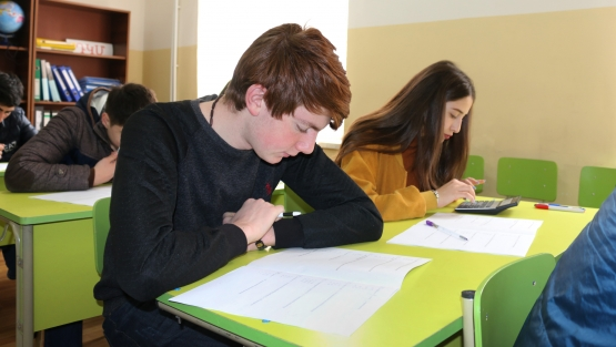Students studying in a classroom in Armenia