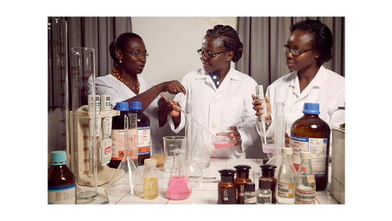 Professor Amivi Kafui Tete-Benissan (left) teaches cell biology and biochemistry at the University of Lomé, in the capital of Togo.