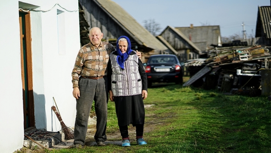 Elderly couple at their home in Pinsk, Belarus