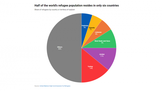 Half of the world's refugee population resides in only six countries