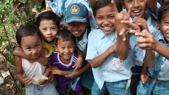 Indonesia-smiling children in Kalibaru East Java