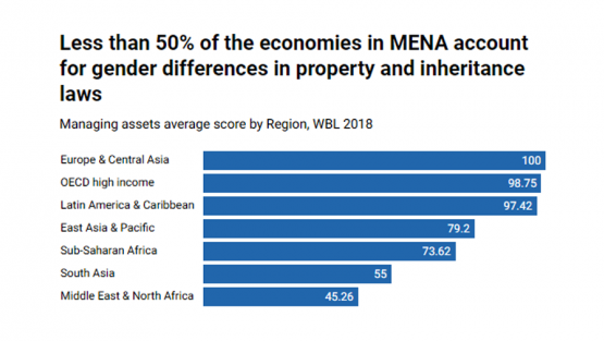 Less than 50 percent of the economies in MENA account for gender differences in property and inheritance laws