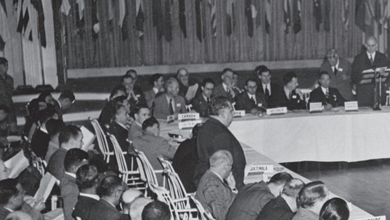 The Bretton Woods Conference was attended by 730 delegates representing all 44 Allied nations. Here, delegates are addressed by conference president Henry Morgenthau Jr. Photo: © Bettmann/Getty Images