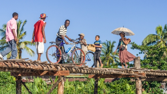 Malagasy people crossing the river by the wooden bridge.  © Shutterstock | Pierre-Yves Babelon