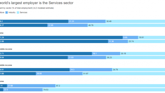 The world's largest employer is the Services sector