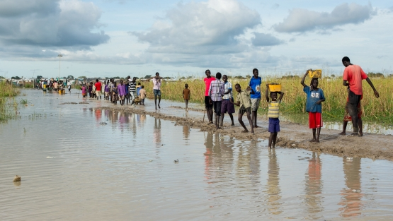 The Protection of Civilians (POC) site near Bentiu, in Unity State, South Sudan, houses over 40,000 displaced persons (IDPs) seeking shelter from armed conflict in the area.