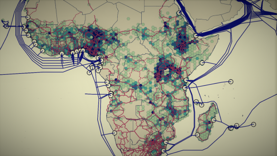 Visualization of fiber infrastructure in Africa and population density, showing unserved regions.