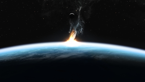 Meteor making impact with earth