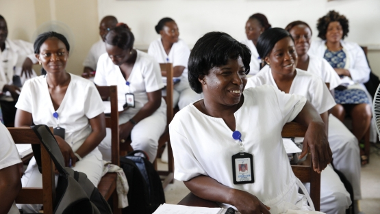 Nurses listen during a training program