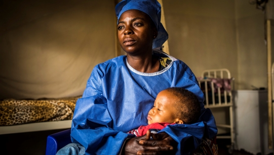 UNICEF-managed child care at the Ebola Treatment Center. Democratic Republic of Congo © World Bank / Vincent Tremeau