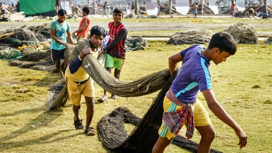 Fishermen working with the nets at a park in Chittagong, Bangladesh. Photo: Alexey Stiop / Shutterstock.com