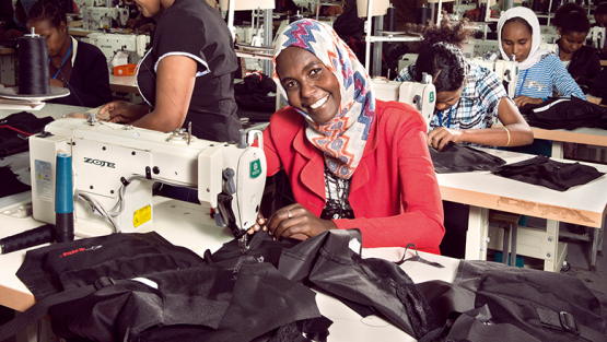 Nebiba Mohammed, 28, works at the Shints textile factory, one of several textile manufacturing plants in Ethiopia's recently opened Bole Lemi industrial park