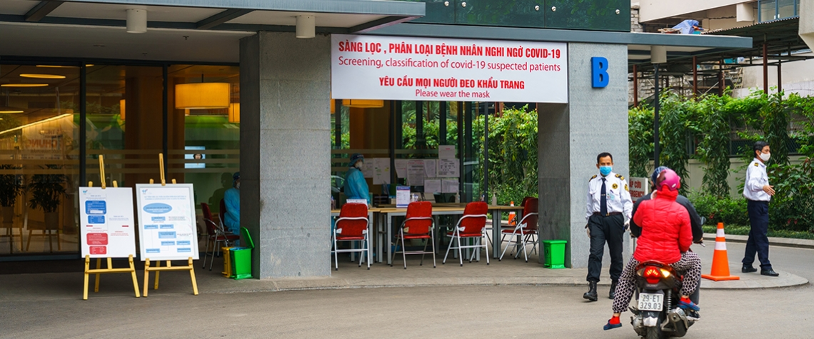 COVID-19 screening center at Viet Phap hospital in Hanoi, Vietnam. Photo: © Vietnam Stock Images/Shutterstock