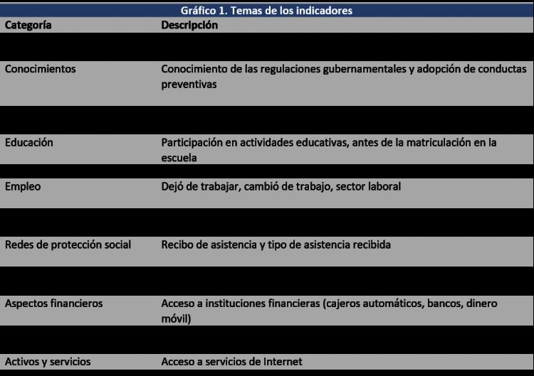 Gráfico 1. Temas de los indicadores