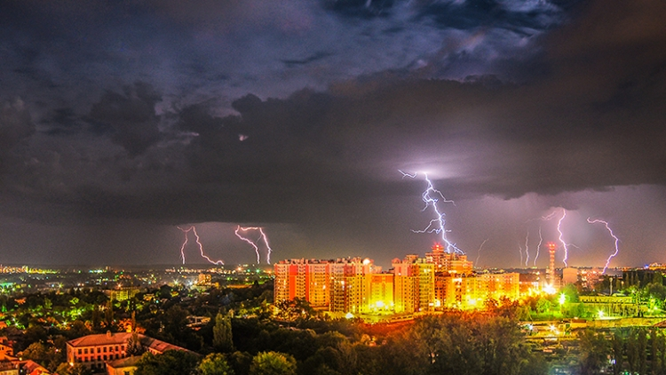 Thunderstorms over Chisinau, the capital of Moldova