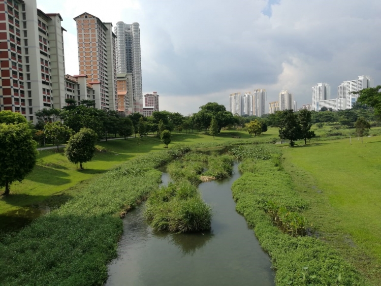 The Bishan-Ang Mo Kio Park in Singapore is a good example of a multi-purpose reservoir that transformed a concrete channel into an integrated flood risk management system with vibrant public spaces, offering recreational opportunities, children's play spaces, green spaces, and economic opportunities for small business. Photo: Jian Vun/World Bank.