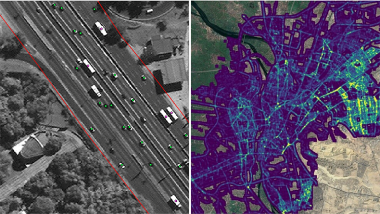 Note: The first graph shows the identified vehicles by the trained Machine Learning Algorithm. The second graph shows the vehicle density map that was produced from the collection of each counted vehicle.