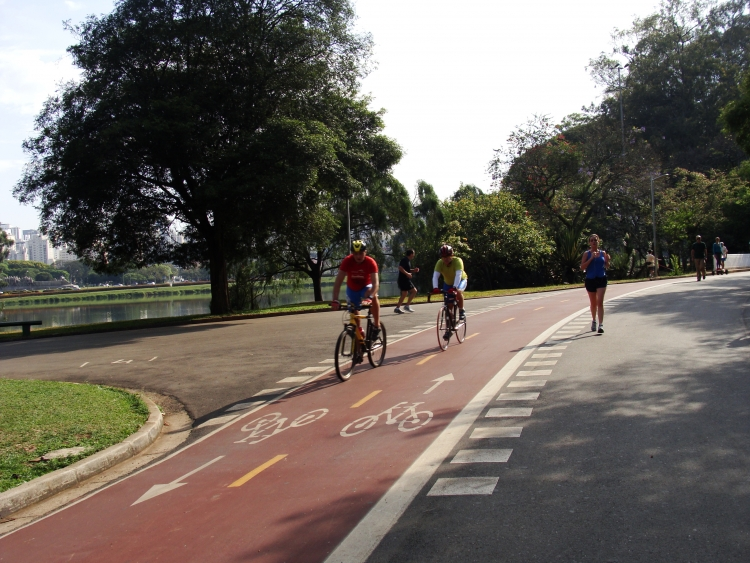 Runners and bikers train at Ibirapuera Park in Sao Paulo, Brazil
