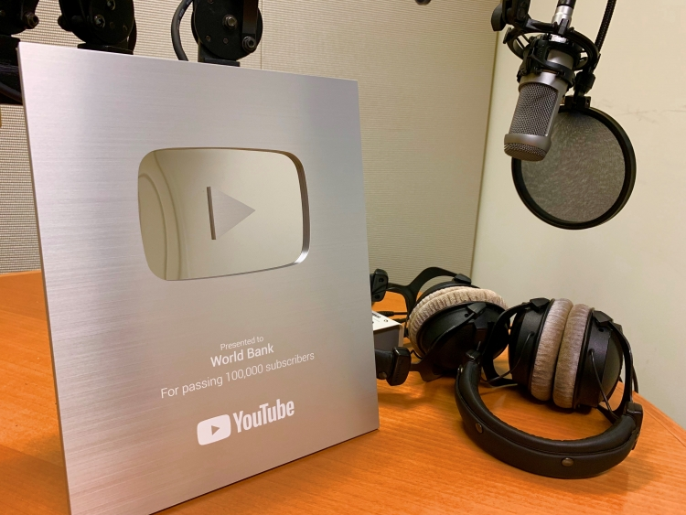 World Bank's YouTube Silver Award for hitting 100,000 Subscribers.