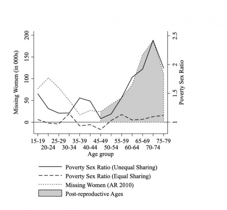 graph juxtaposing older womens excess mortality and intrahousehold inequality -- they overlap