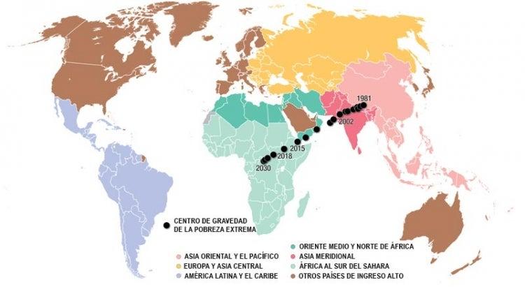 Centro de gravedad de la pobreza extrema, 1981-2030