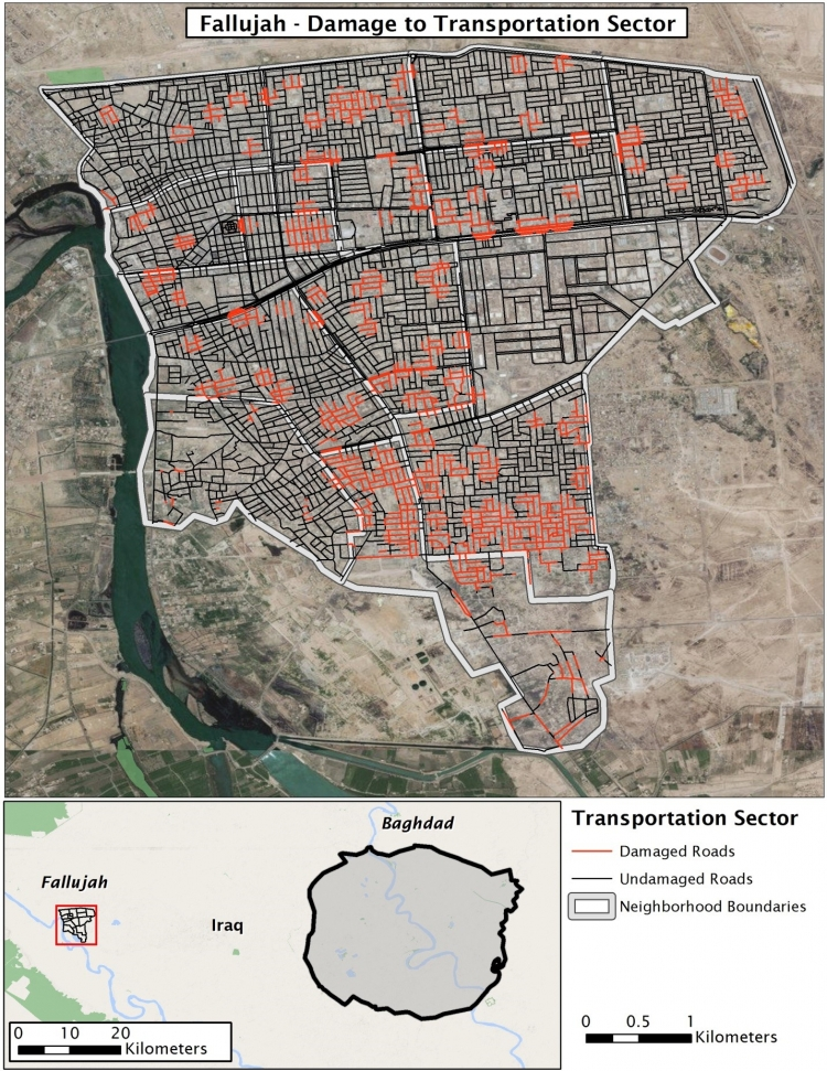 Aerial view of damage to transportation sector in Fallujah, Iraq